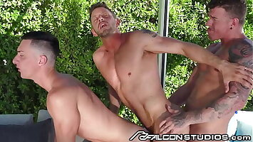 3 Hunks Get Hot & Heavy By The Pool - FalconStudios