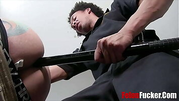 Ebony Cop Takes In-charge Of Twink's Asshole