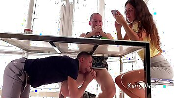 Sucked his friend dick under the feed until his step sister sees. Risky Blowjob Almost Caught . Katty West, Falcon Al and Oliver Strelly