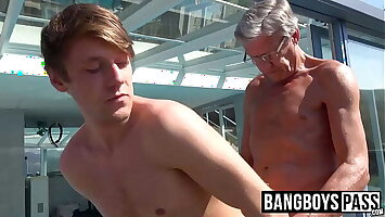 Old and young said session with grandpa and twink cute dude