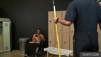 Janitor Walks In And Caught The Gym Boy Jerking His Cock - Mike Lobo, Matt Wingman