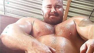 Giant Dick Bodybuilder Sweaty Naked Posing